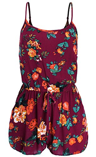 - Ladies' Code Sleeveless Floral Print Romper with Side Pockets Burgundy M Size