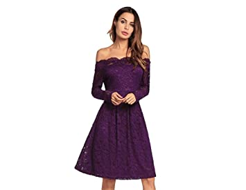 Woman Dress Woman Dresses Lace Comfortable Soft Material Purple Birthday Gift Party Formal Dresses,S