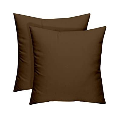RSH Décor Set of 2 - Indoor/Outdoor Solid Chocolate Decorative Square Throw/Toss Pillow - Choose Size and Choose Color : Garden & Outdoor