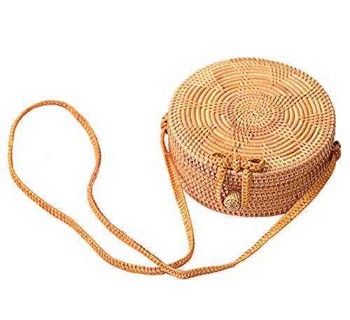 Hopeeye Femme Sac Sac à bandoulière en paille Sac à main Main Beach Girl Gift Brown 1-marron