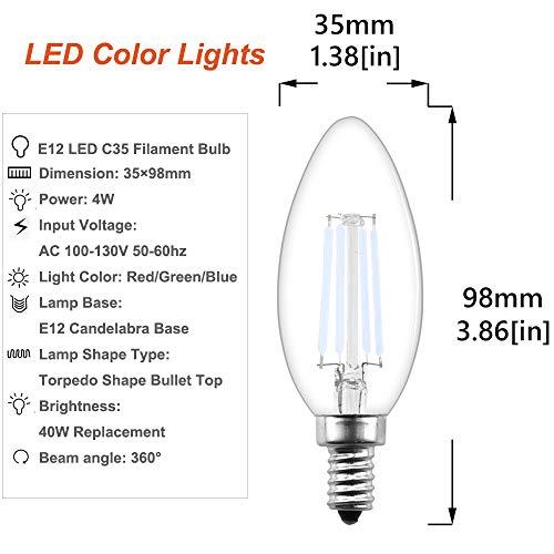 Dimmable LED E12 Base Blue C35 Vintage Edison Bulb - Lustaled 4W LED C35 Torpedo Shape Filament Light Bulbs 40W Incandescent Equivalent for Front Porch Light Entertainment Home Decoration (3 -Pack)