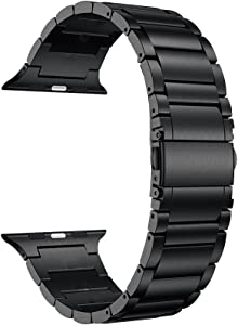 LDFAS Compatible for Apple Watch Band 40mm/38mm, Titanium Metal Watch Bands Compatible for Apple Watch Series 5/4/3/2/1 Smartwatch, Black