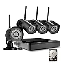 Zmodo 4 Channel NVR 720p HD Wireless Outdoor Home Video Security Cameras System 1TB Hard Drive