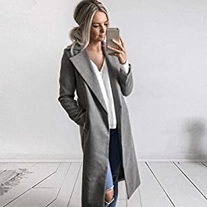 TOPUNDER - Apparel Winter Cardigan Womens Long Coat Lapel Parka Jacket Overcoat Outwear by TOPUNDE