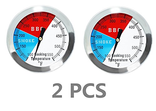 """DOZYANT 2"""" 550F(2 pack) BBQ Barbecue Charcoal Grill Pit Wood Smoker Temp Gauge Grill Thermometer 2.5"""" Stem Stainless Steel RWB"""