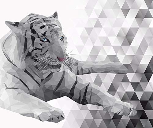 Gorgeous Siberian Tiger, Mosaic 37-inch Panel, Digitally Printed, Black, Gray, White, Hint of Blue, Majestic, Deborah Edwards, Northcott, DP22425-95