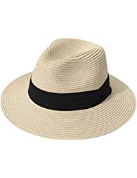 3842feb07ec Women Straw Panama Hat Fedora Beach Sun Hat Wide Brim Straw Roll up Hat UPF  50