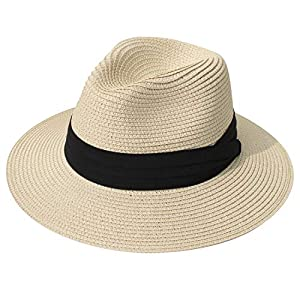 DRESHOW Women Straw Panama Hat Fedora Beach Sun Hat Wide Brim Straw Roll up Hat UPF 30+