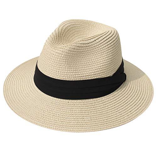 (DRESHOW Women Straw Panama Hat Fedora Beach Sun Hat Wide Brim Straw Roll up Hat UPF 50+)