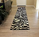 Carved Zebra Rug Runner 32 In. X 7 Ft. Sculpture 245 Black / Off-White