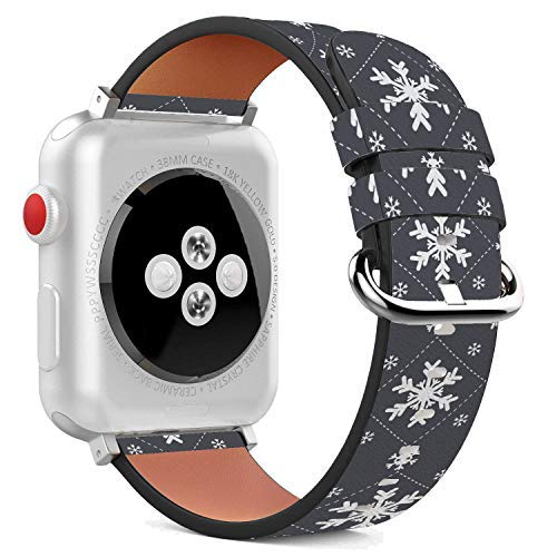 (Compatible with Apple Watch - 38mm Leather Wristband Bracelet with Stainless Steel Clasp and Adapters - Snowflake White Dark)