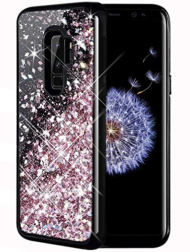 Caka Galaxy S9 Plus Case, Galaxy S9 Plus Glitter Case Luxury Fashion Bling Flowing Liquid Floating Sparkle Glitter Girly TPU Soft Black Case for Samsung Galaxy S9 Plus - (Rose Gold)
