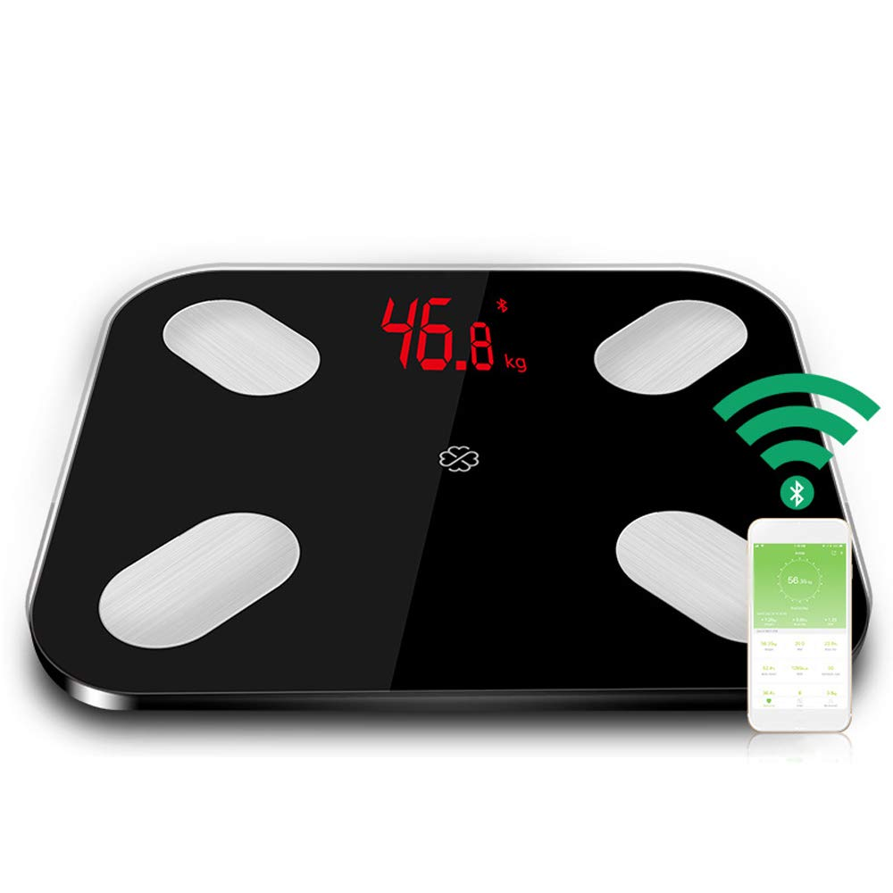 Bluetooth Smart Body Fat Scale Health Monitor Accurate Weight Measurements with LED Display, High-Precision Sensors 4, Auto Power-On When Sensing Weight