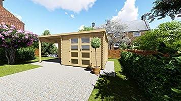 AL Wood Ltd - Cobertizo de jardín con Porche (3 m x 2, 4 m + 2, 4 m, 28 mm): Amazon.es: Jardín