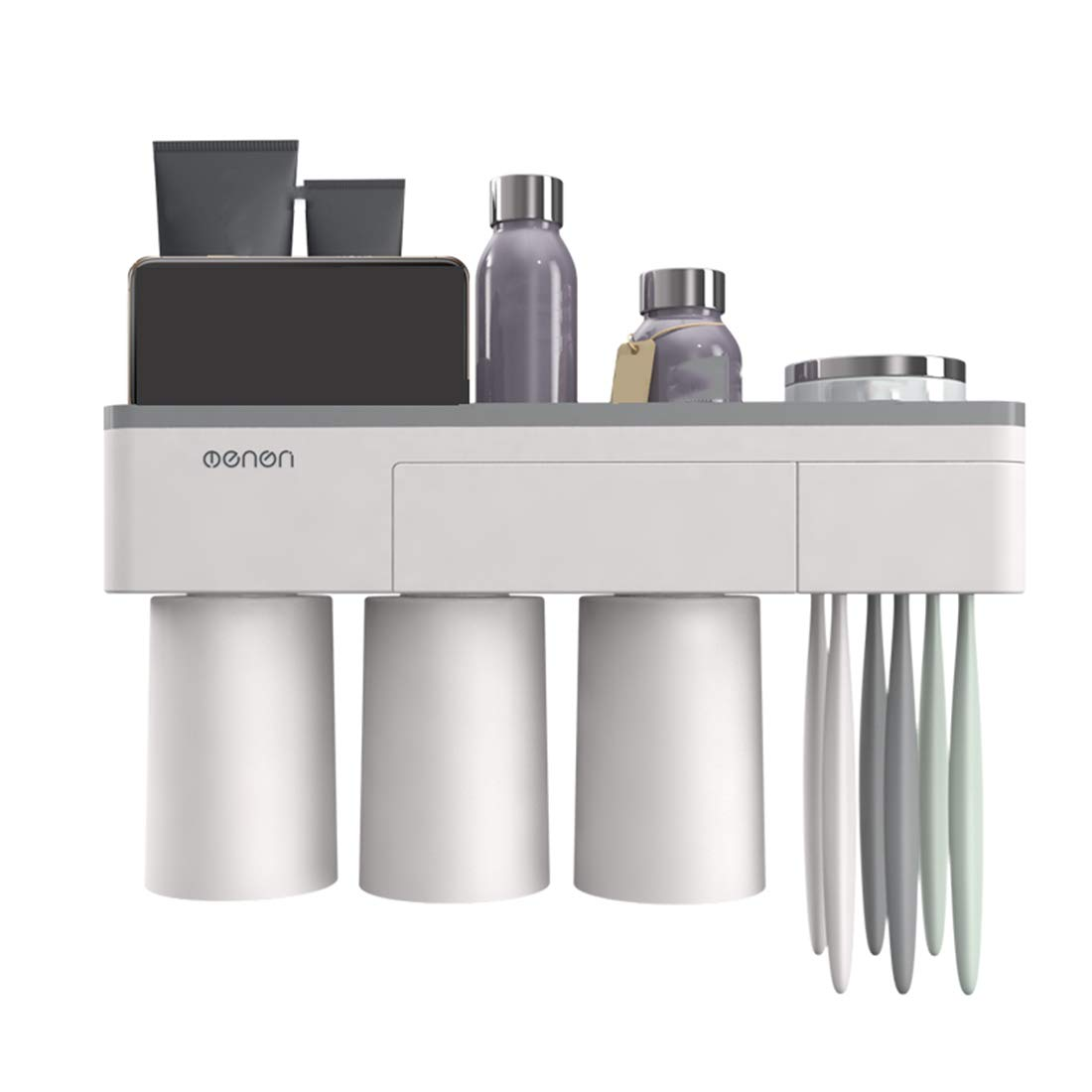Magnetic Toothbrush Holder Wall Mount Electric Toothbrushes Slots Cosmetic Organizer and Drawer with Phone Holder