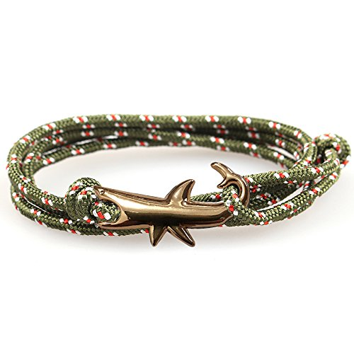 Happiness Jewelry Nylon Rope Sailing Vikings Wrap Bracelet With Gold Color Nautical Shark Alloy Clasp 30 Inches (Green / (Gold Wrap Necklace)