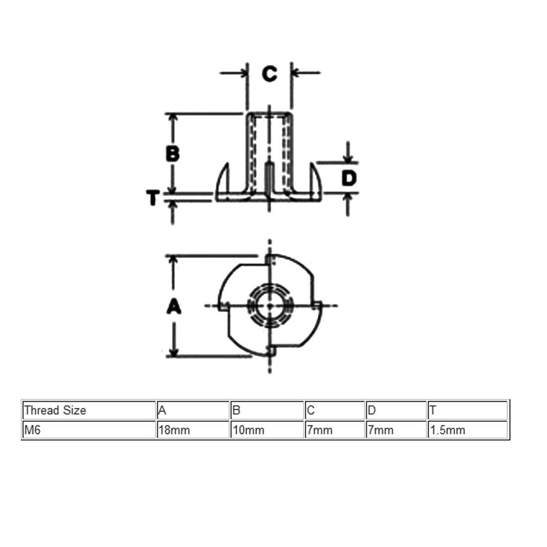 Sourcingmap-M6in acciaio al carbonio 4denti di fissaggio t-nuts 25pezzi per mobili in legno