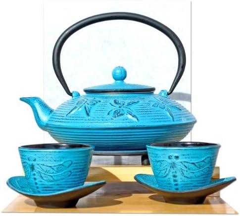 Gifts Of The Orient GOTO - Hierro Fundido Luz Azul Mariposa Juego De Té D 0.8 Litros - Salvamanteles Tazas & Tetera Cafetera Tetsubin Estilo Japonés: Amazon.es: Hogar