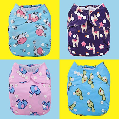 Anmababy 4 Pack Adjustable Size Waterproof Washable Pocket Cloth Diapers with 4 Inserts and Wet Bag for Baby Girls.(CD4-002)