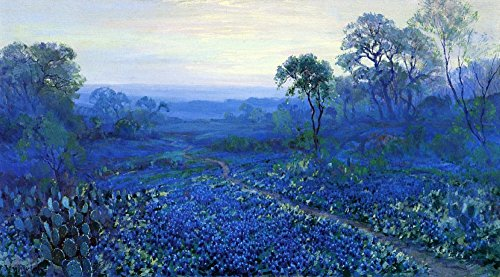 The Museum Outlet - Untitled (aka Bluebonnet Landscape with Catci, Road and Mountain Laurel) - Poster Print Online Buy (30 X 40 Inch)