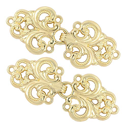(Bezelry 4 Pairs Swirl Flower Cape or Cloak Clasp Fasteners. 65mm x 28mm Fastened. Sew On Hooks and Eyes Cardigan Clip (Gold))