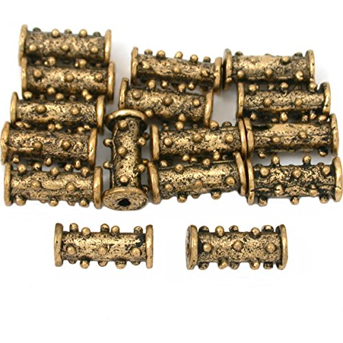 15g Dot Bali Tube Beads Antq Gold Plated 12mm Approx 15 ()