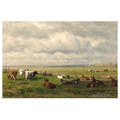 GREATBIGCANVAS Poster Print Entitled Meadow Landscape with Cattle, c. 1880, Dutch Painting, Oil on Canvas by Willem Roelofs 60