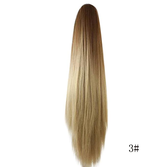 Amazon.com: Huphoon Hair Extension for Women Long Straight Ombre Color Claw Clip Ponytail Hairpiece Fiber False Hair (C): Office Products