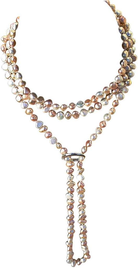 Collar de largo con perlas barrocas color durazno/rosa/blanco estilo Shanghay cultivadas de agua dulce sin broche y con un acortador en plata esterlina