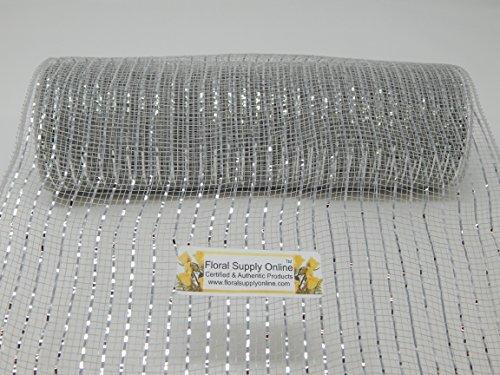 10 inch x 30 feet - Metallic Deco Poly Mesh Ribbon (Silver, (Metallic Deco Mesh)