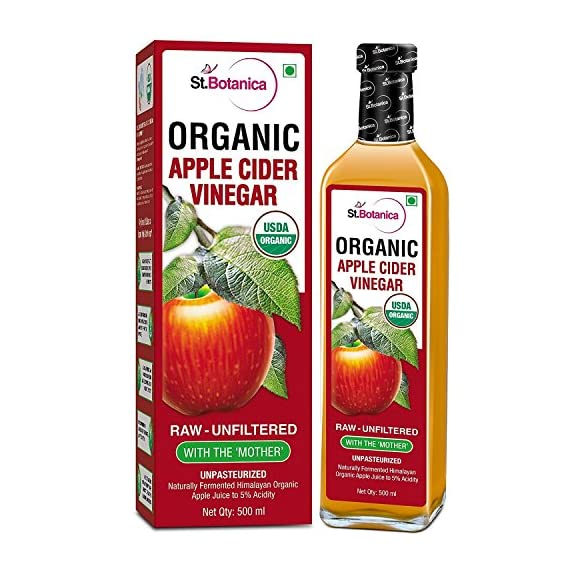 St. Botanica USDA Organic Apple Cider Vinegar With The Mother - Raw, Unfiltered, UnPasteurized - 500ml (Glass Bottle)