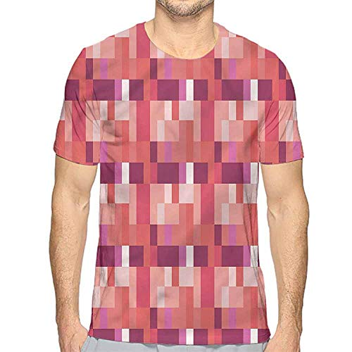 bybyhome t Shirt Printer Peach,Geometric Square Colorful Junior t Shirt M ()
