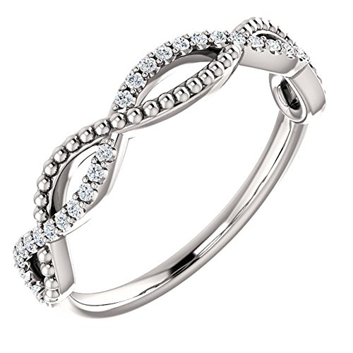 0.49 ct Ladies Round Cut Diamond Infinity Style Beaded Anniversary Band in Platinum