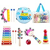 Beeway Kids Musical Instruments for Toddlers Tambourine Set Wooden Percussion Instruments Toy for Kids Preschool Educational, Musical Toys Set for Boys and Girls with Storage Backpack