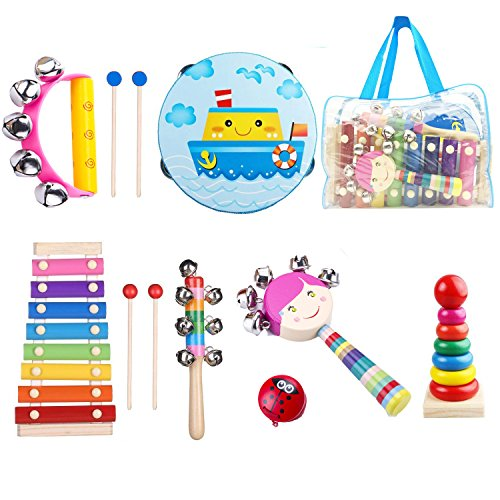 (Beeway Kids Musical Instruments for Toddlers Tambourine Set Wooden Percussion Instruments Toy for Kids Preschool Educational, Musical Toys Set for Boys and Girls with Storage Backpack)