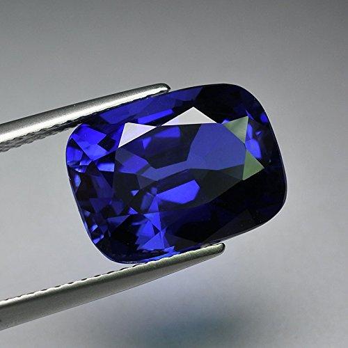 - 12x10 mm. Big Emerald Cut Ceylon Blue Sapphire Synthetic Corundum Unset Hand Cut loose gem