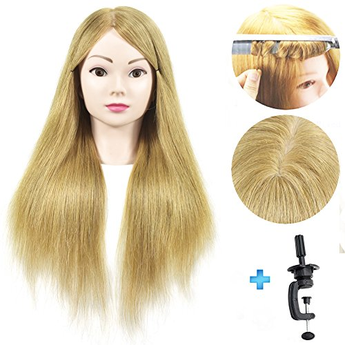 Cabezal de maniqui para peluqueria con abrazadera, 100% cabello humano real, 50,8 cm