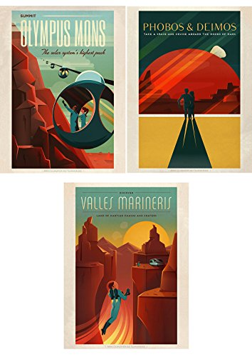 SPACE X MARS TRAVEL ADVERT PACK 3 POSTERS 12 x 16 '' ART PRINT - Us Time Delivery International Priority Mail