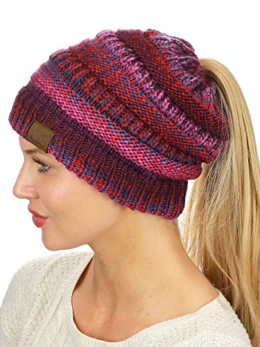 (C.C BeanieTail Soft Stretch Cable Knit Messy High Bun Ponytail Beanie Hat, Burgundy Tribal Blend)