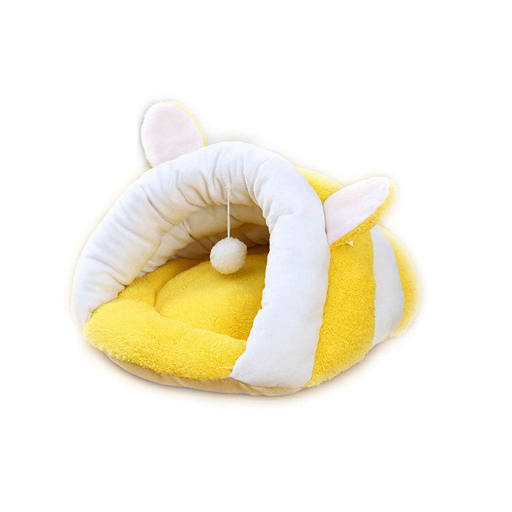 PLDDY Pet Nest Cat Bed Cat Sacco a Pelo Confortevole Velluto Inverno Caldo Non Peloso Four Seasons Universal Teddy Kennel Pet Supplies Lettiera (colore   Giallo)