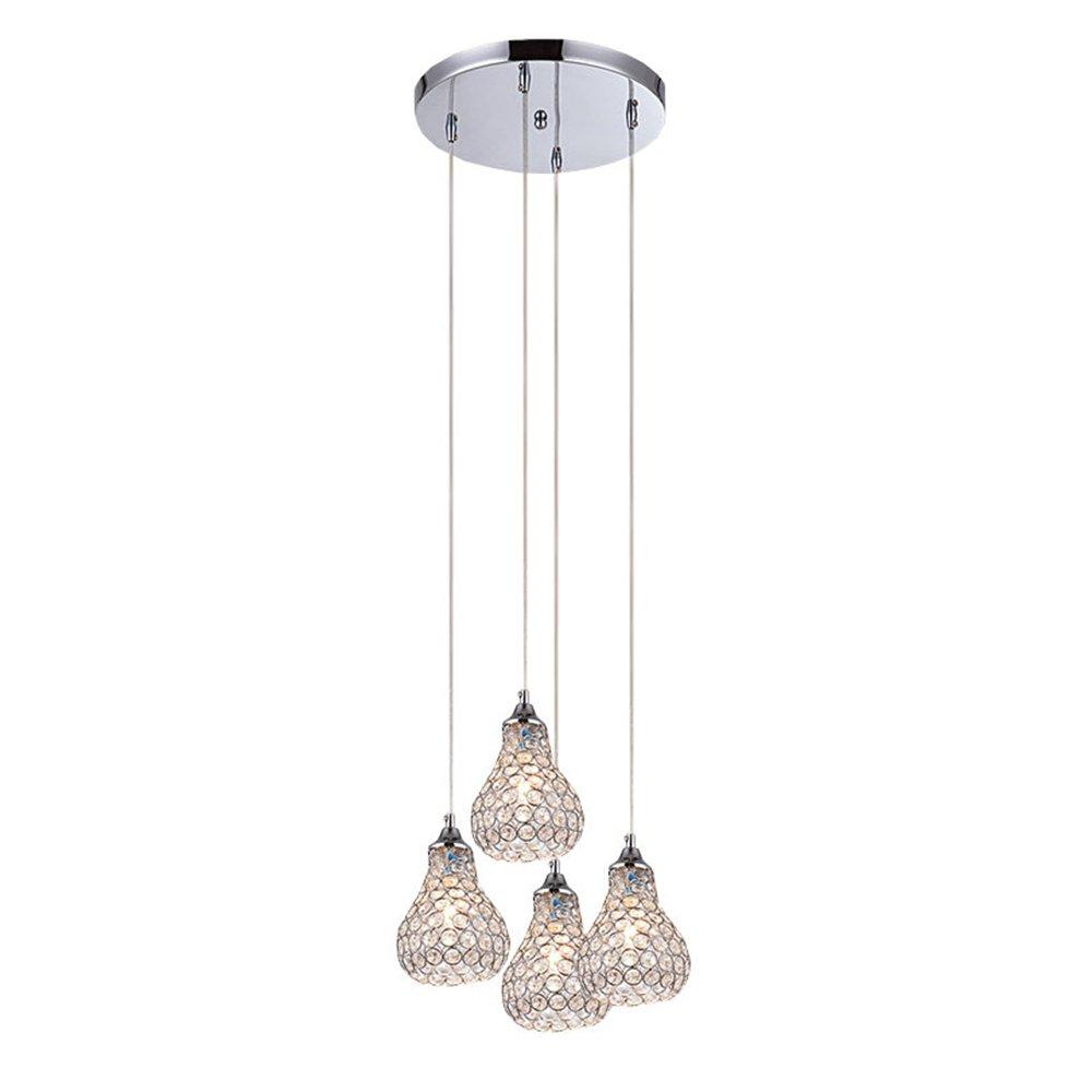 Dinggu modern chrome finish 4 lights mini crystal pendant lighting fixtures for kitchen amazon com