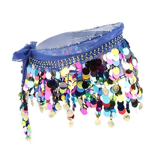 Hanche Ceinture Femmes royal Ventre Perle Taille Danse MagiDeal Jupe Du charpe Paillette bleu vxq6dF70