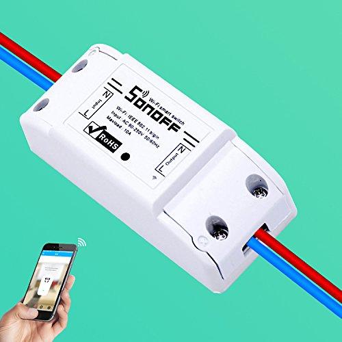 Edhua Interruptor inal/ámbrico Inteligente de WiFi de Sonoff,M/ódulo de Interruptor inal/ámbrico de Control Remoto Inteligente para Apple Android App