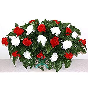 Beautiful XL Red And White Cemetery Saddle Flower Arrangement 70