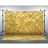 7X5Ft Gold Brick Wall Backdrop, Gorgeous Style With Flash Photography Background, Interior Decoration Wallpaper and Photo Studio Photography Backdrop Props VV004