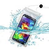 Premium Universal T-Clear Waterproof Case Bag (with Lanyard) for Motorola Droid Turbo, XT1254, XT1064 (Moto G 2nd Gen), Moto G, Moto X, MOTO X+1, XT1080M (Droid Maxx), XT1030 (Droid mini), XT1080 (Droid Ultra) + MYNETDEALS Mini Touch Screen Stylus
