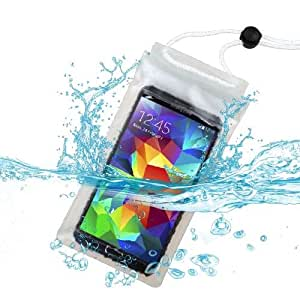 Premium Universal T-Clear Waterproof Case Bag (with Lanyard) for Blackberry Leap, Z10, Z30 (Aristo), Z3 + MYNETDEALS Mini Touch Screen Stylus