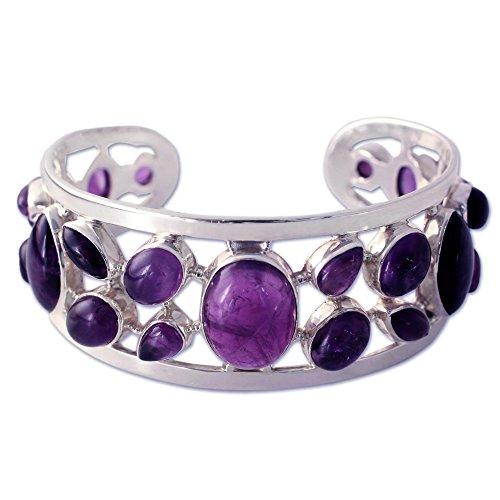 NOVICA Amethyst .925 Sterling Silver Cuff Bracelet 'Purple Harmony' by NOVICA