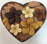 Wooden Multi Color Puzzle Jewelry Box Heart Shape Plumeria Design.