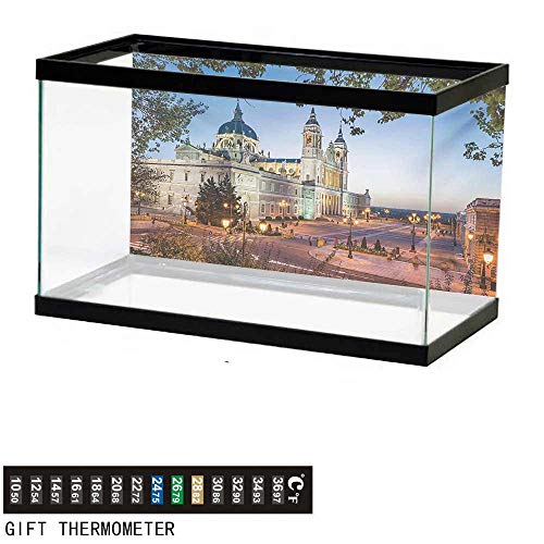 """wwwhsl Aquarium Background,European,Old Cathedral and Royal Palace in Madrid Mediterrenean City Europe Urban Print,Multicolor Fish Tank Backdrop 48"""" L X 20"""" H"""